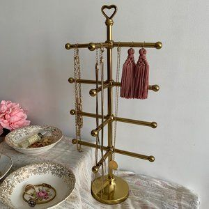 Vintage Jewelry Stand with Heart Topper